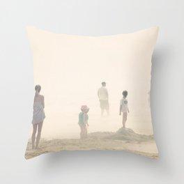 Mist on the beach Throw Pillow