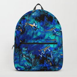 Ripples (Blue, White, Black & Gold Acrylic - Repeat Pattern) Backpack