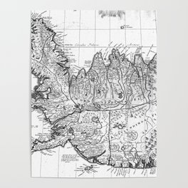 Vintage Map of Iceland (1761) BW Poster