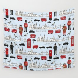 London Skyline and Icons Wall Tapestry