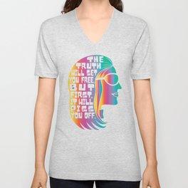 Gloria Steinem Feminist Icon Truth Quote Rainbow Colors Unisex V-Neck