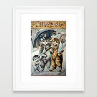 shopping Framed Art Prints featuring Shopping by Frankie Cat