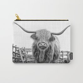 Highland Cow in a Fence Black and White Carry-All Pouch