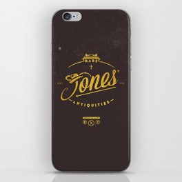 """Jones' Rare Antiquities"" - gold version iPhone Skin"