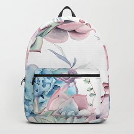 Pretty Pastel Succulents Garden 1 Backpack