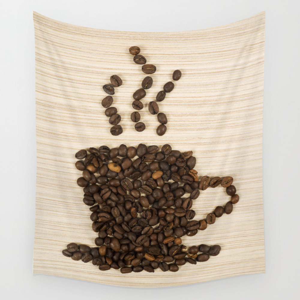Coffee Bean Cup On Table Wall Tapestry by Samirhanusa TPS6594621