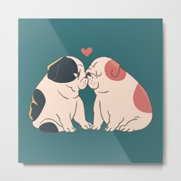 English Bulldog Kisses Metal Print