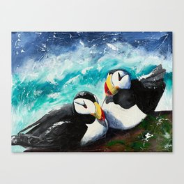 Puffins - Always together - by LiliFlore Canvas Print