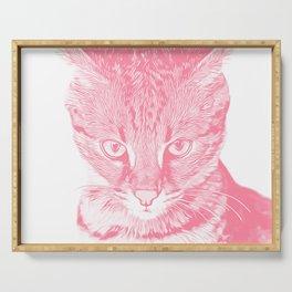 savannah cat portrait vapw Serving Tray