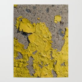 Yellow Peeling Paint on Concrete 2 Poster