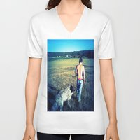 indiana V-neck T-shirts featuring Indiana by Peacockbutterfly  Art