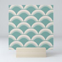 Japanese Fan Pattern Foam Green and Beige Mini Art Print