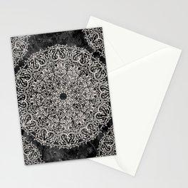 MANDALA ON BLACK MARBLE Stationery Cards