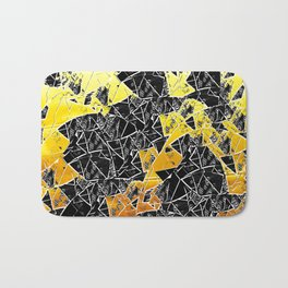 gold black and white abstract geometrical art Bath Mat