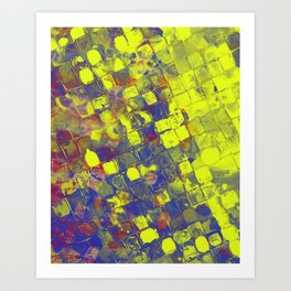 Take The First Step - Abstract, blue and yellow pattern Art Print