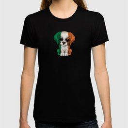 Cute Puppy Dog with flag of Ireland T-shirt
