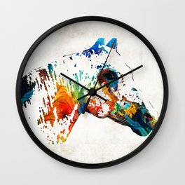 Colorful Horse Art - Wild Paint - By Sharon Cummings Wall Clock
