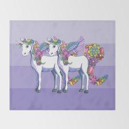 Unicorn Twins Throw Blanket