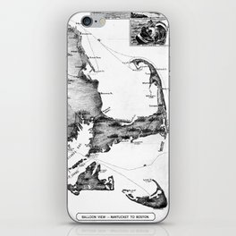 Vintage Map of Cape Cod (1885) BW iPhone Skin