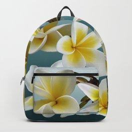 Plumeria on Blue Backpack