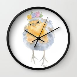 Robin Floral Wreath Watercolor Painting Wall Clock