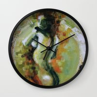 helen green Wall Clocks featuring Helen by Andrea Creates