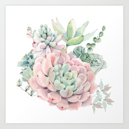 Pink Succulents by Nature Magick Art Print