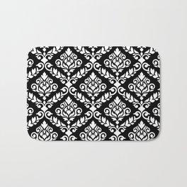 Prima Damask Pattern White on Black Bath Mat