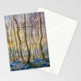 Mysterious Springtime Forest. Watercolor Art Stationery Cards