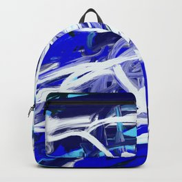 Blue & White Abstract Backpack