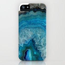 Blue agate, Marble, Faux Druse, Crystal, Quartz, Gem, Gemstone, iPhone Case