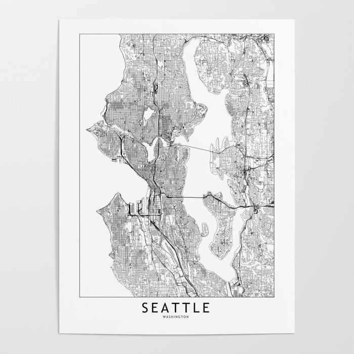 Seattle White Map Poster
