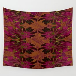 Boho Metallic Flowers- Orange and Pink Decoupage  Wall Tapestry