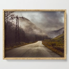 Foggy road Serving Tray