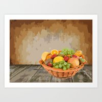 fruit Art Prints featuring fruit by Shea33