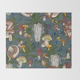mushroom forest Throw Blanket