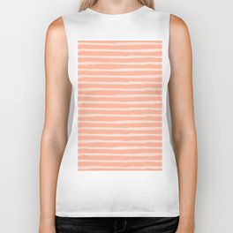 Sweet Life Thin Stripes Peach Coral Pink Biker Tank