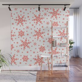 Christmas Red Snowflakes Star Pattern Wall Mural