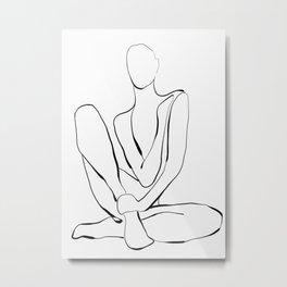 Female Figure Line Art  2 Metal Print