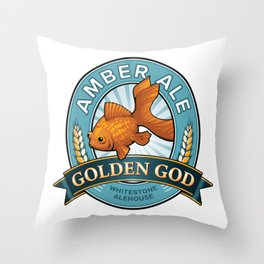 Golden God Amber Ale label Throw Pillow