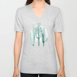 Cactus Nights Full Moon Starry Sky Sage by Nature Magick Unisex V-Neck