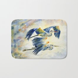 Flying Together - Great Blue Heron Bath Mat