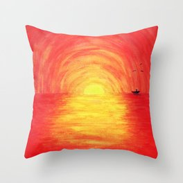 Boat on red lake  Throw Pillow