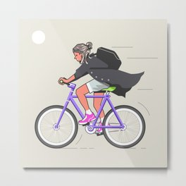 Fixie girl Metal Print