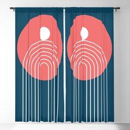Mid Century Modern Geometric 46 in Navy Blue Coral (Rainbow Sun Abstraction) Blackout Curtain