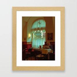 Lady in a Coffee Shop Framed Art Print