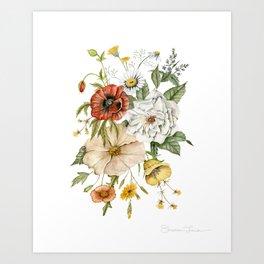 Wildflower Bouquet on White Art Print