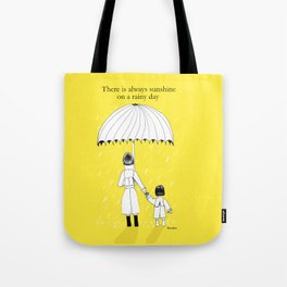 Mother and Daughter in the rain Tote Bag