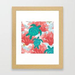 Sea Turtles in The Coral - Ocean Beach Marine Framed Art Print
