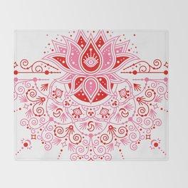 Lotus Blossom Mandala – Red & Pink Palette Throw Blanket
